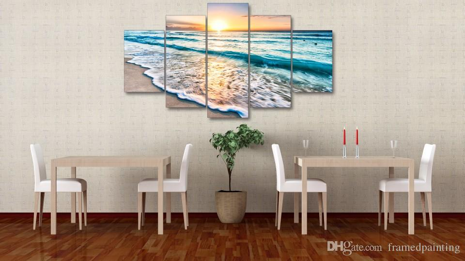 Framed HD Printed Seascape Sunset Beach Sand Picture Canvas Print Decor Poster Canvas Wall Art Oil Painting