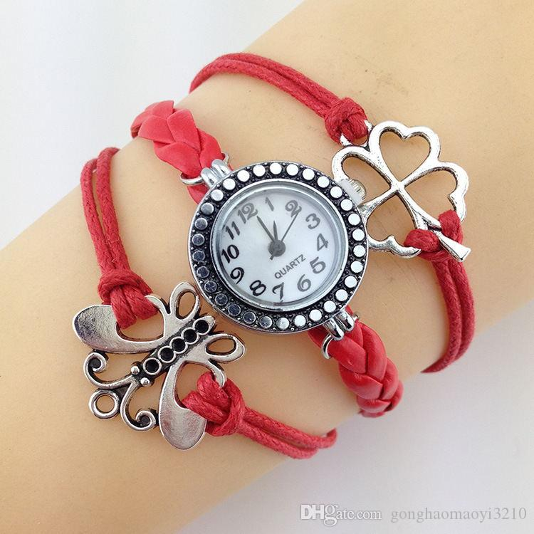 Hot selling Infinity DIY Clover Butterfly Watches Weave bracelets Wristwatches for Women.Wrap Leather Wristbands watch