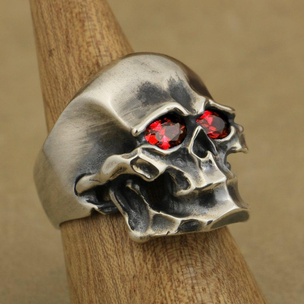 LINSION Heavy 925 Sterling Silver Red CZ Skull Mens Biker Punk Ring TA46 US Size 7 to 15