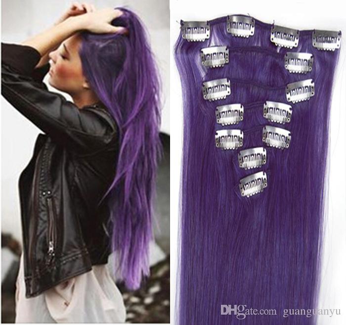 Purple Hair Extensions Clip Ins Virgin Clip In Brazilian Hair 100g