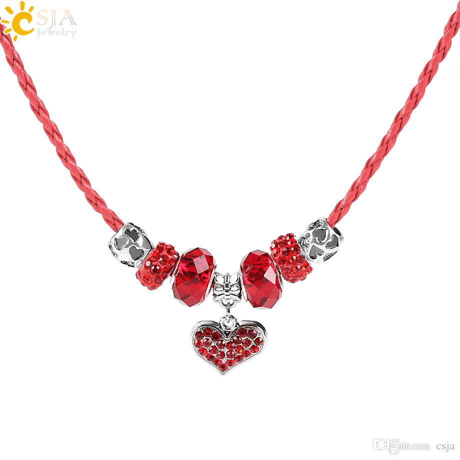 9994564f3e334 2019 CSJA Red Weaving Braid Leather Cord Choker Necklace Lover Sparkling Love  Heart Pendant Crystal CZ Beads DIY Christmas Valentine Jewelry E711 From  Csja