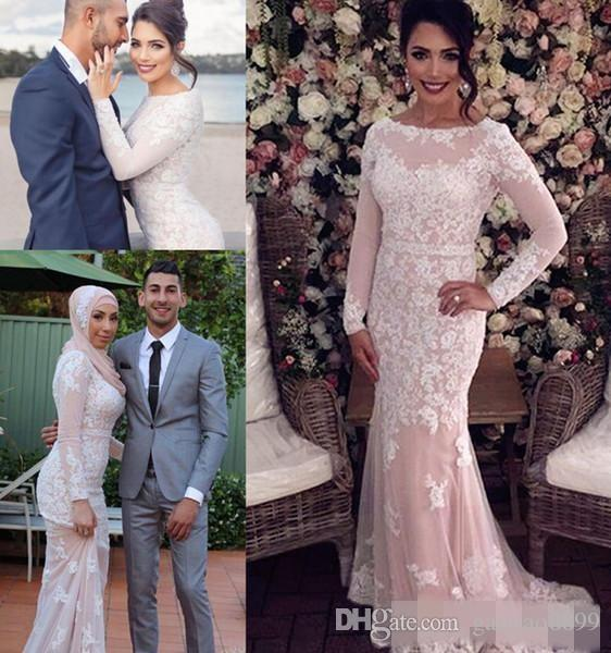 2017 Peach Pink New Arrival Full Lace Mermaid Evening Dresses Bateau Neck Long Illusion Long Sleeves Applique Formal Prom Dress Party Gowns