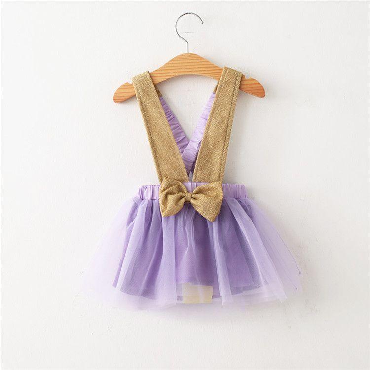 Kids Girls Lace Dresses 2017 Baby Girl Tulle Bow Skirt Princess Party Dress Babies Korean Style Suspender TuTu Dress Children's Clothing