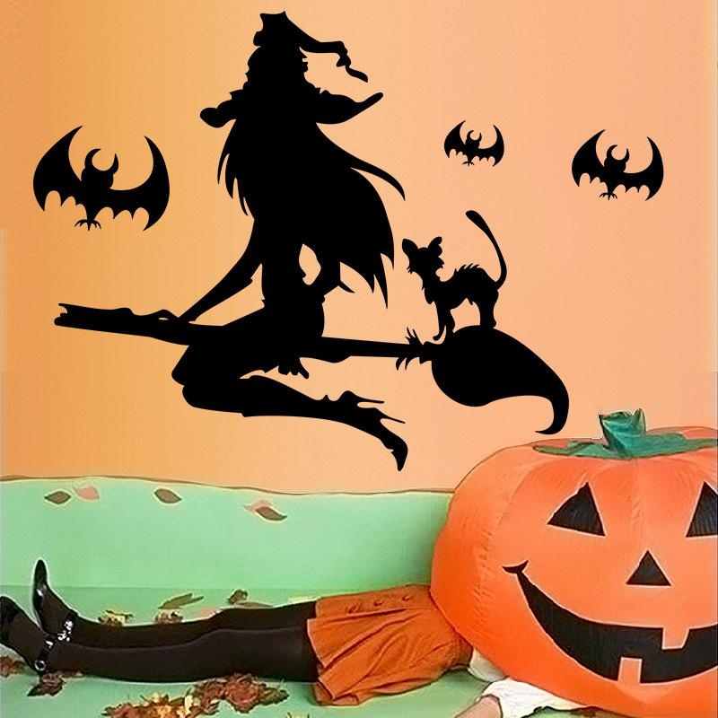 new festival halloween witch broom bats cat horror wall stickers decal poster home decor vinyl 3d mural living room bedroom wall murals and decals wall