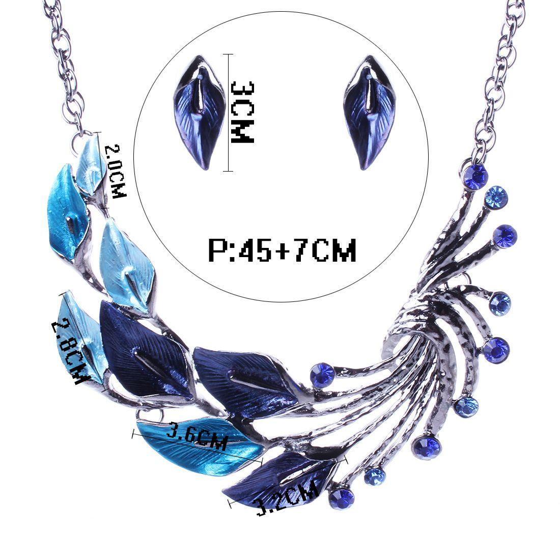Las nuevas mujeres de cristal austriaco joyería fija el esmalte es de la flor joyería fija Cadena conjuntos de collar aretes