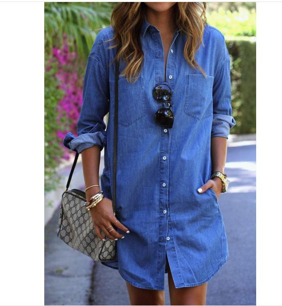 46942e5e23d 2019 Ladies Denim Shirt Casual Loose Long Sleeved T Shirt Dresses Women  Lapel Denim Shirt Dress From Johnbob1994