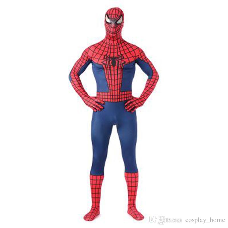 Compre Alta Calidad Classic Rojo Y Azul Lycra Spandex Traje De Spiderman  Hombre Completo Zentai Spiderman Cosplay Traje Sexy Mono Para Halloween A   35.53 ... 65e970eb2572