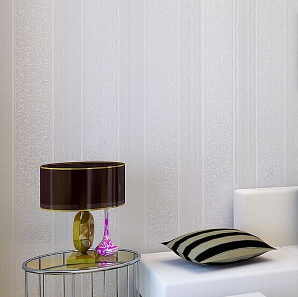 Stripe Modern Textured Wallpaper Bedroom Wall Paper Roll BeigeWhiteGrey High Res Desktop