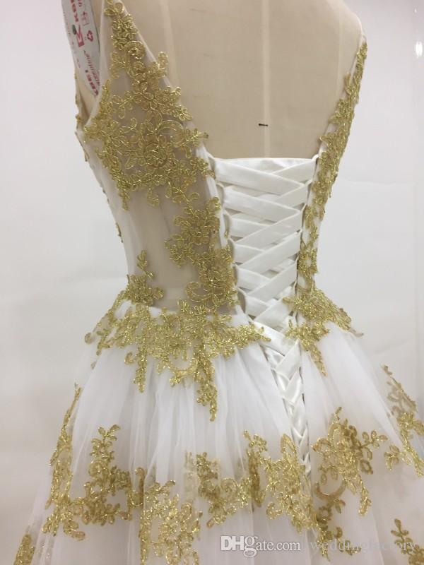 Atemberaubende Elfenbein und Gold Brautkleider A Line Spaghetti Straps Bunte Hochzeitskleid Sparkly Gold Spitze Appliques Corset Zurück Brautkleid