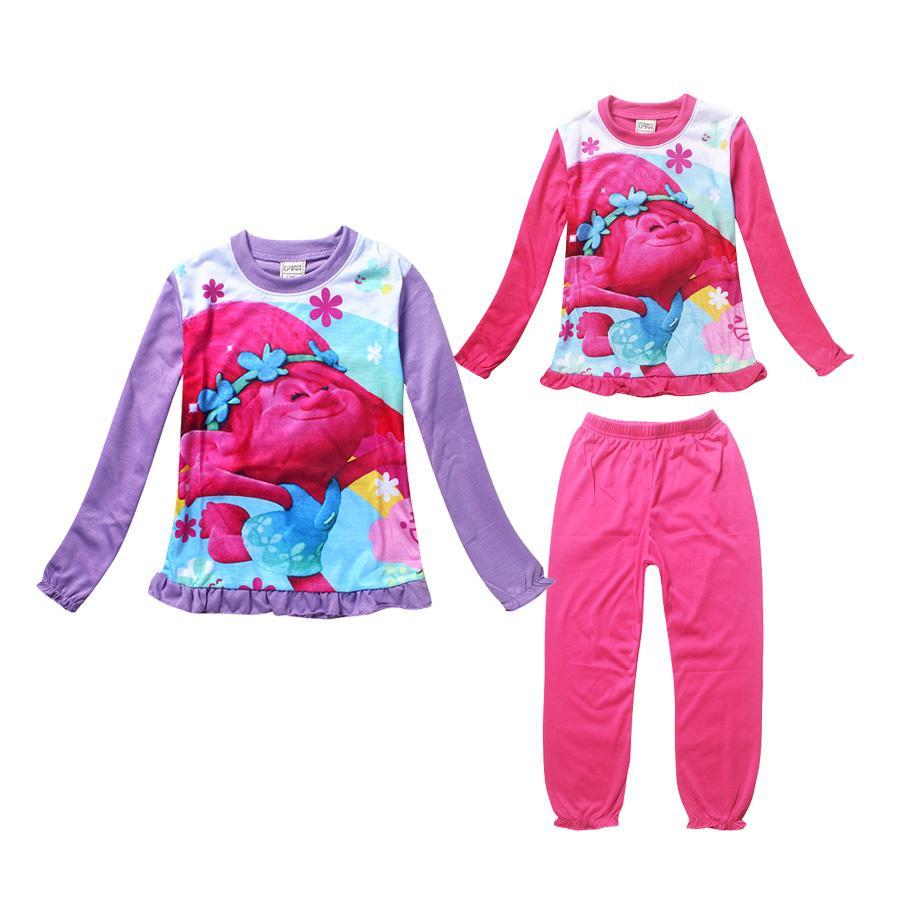 1320a03a26ea Cute Baby Girl Pajamas Set Lovely Anime Trolls Cartoon Sleepwear Set ...