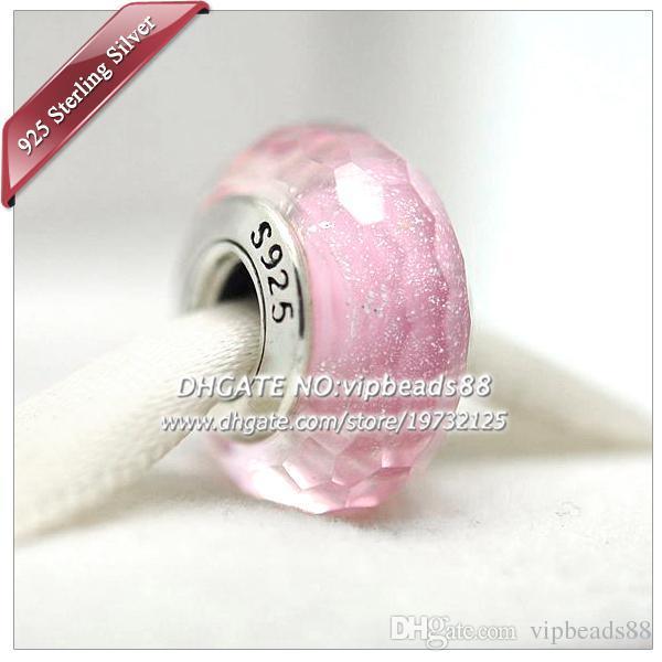 S925 gioielli in argento sterling moda scintillante rosa sfaccettato perle di vetro di murano adatto europeo fai da te pandora braccialetti con ciondoli collana