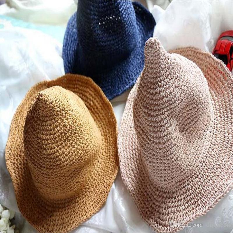 33a5e2215 Fashion Summer Baby Children Straw Hats Children Character Girls And Boys  Sun Hat Solid Children Spire and Wizard Hat Hollow-out Kids Hats