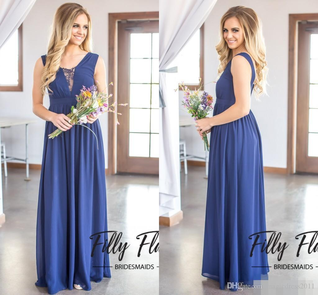 2017 new dark navy cheap chiffon bridesmaid dresses a line floor 2017 new dark navy cheap chiffon bridesmaid dresses a line floor length pleats v back maid of honor dresses custom made discount bridesmaid dresses under 50 ombrellifo Image collections