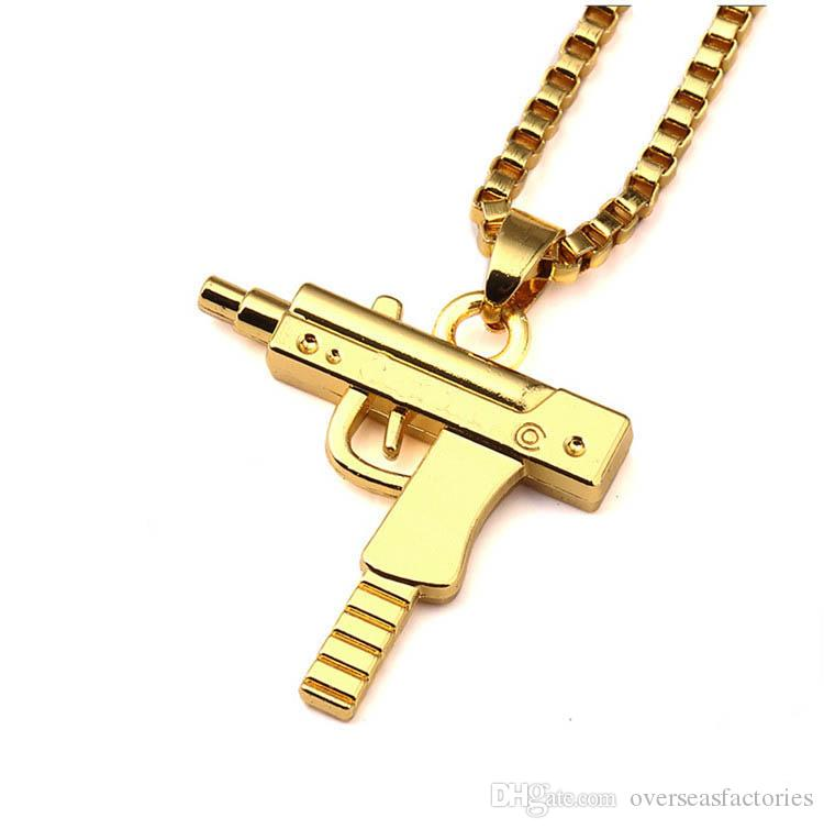1pc Mens Metal Army Gun Rifle Chain Pendant Necklace Men Accessories For Boyfriend Birthday Gift Free Shipping