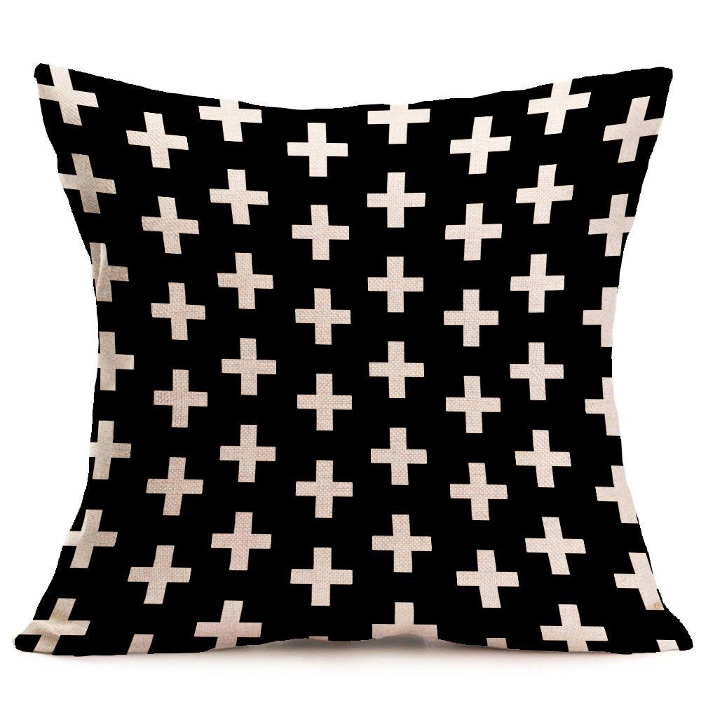halloween Weihnachten schwarz weiß pillowcase Geometrie Kissenbezüge Baumwollleinenkissenabdeckung für Schlafsofa Nordic Dekokissen Fall