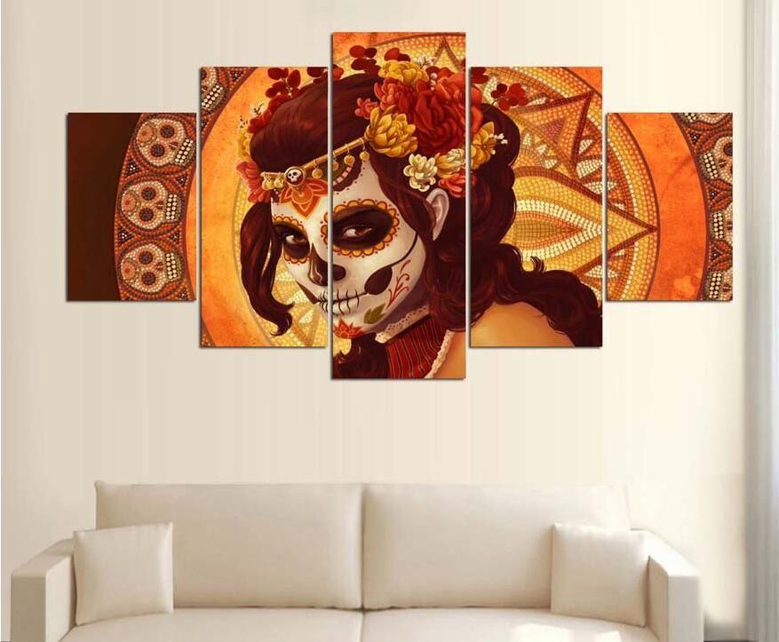 Drop Shipping HD Stampato Giorno del Morto Faccia Gruppo Pittura room decor manifesto stampa foto su tela decorazione della casa