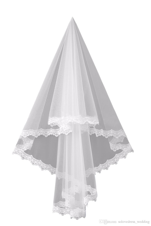2020 حار جميل رخيصة الرباط قصيرة الدانتيل الزفاف الحجاب طبقة واحدة الدانتيل حافة تول الزفاف الحجاب الأبيض العاج الحجاب الزفاف