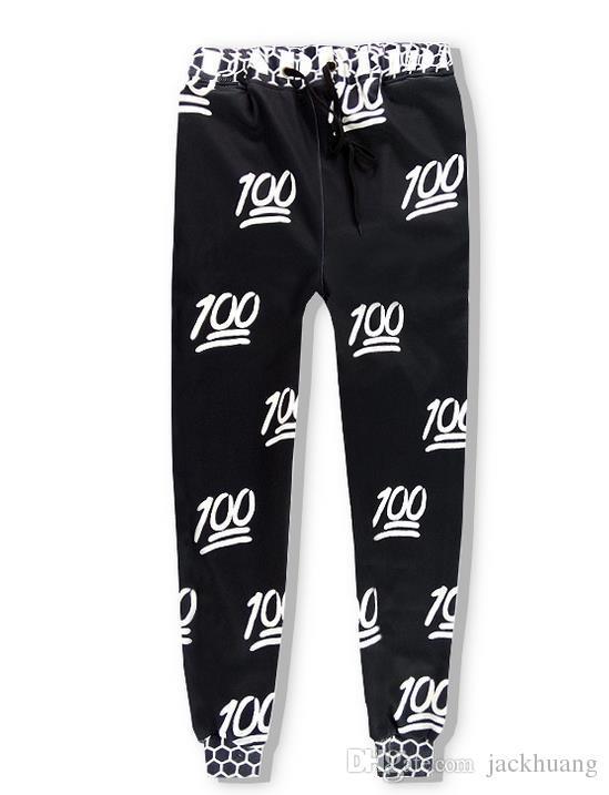 Männer Frauen Schwarz Weiß 100 Emoji Jogger Outfits Hundert Printed Hoodies + Pants Sweatshirts Jogginghose Trainingsanzüge Set S-2XL