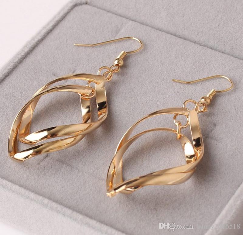 Простая мода спираль мотаться серьги для женщин золото посеребренные ювелирные изделия Леди партии подарки оптом