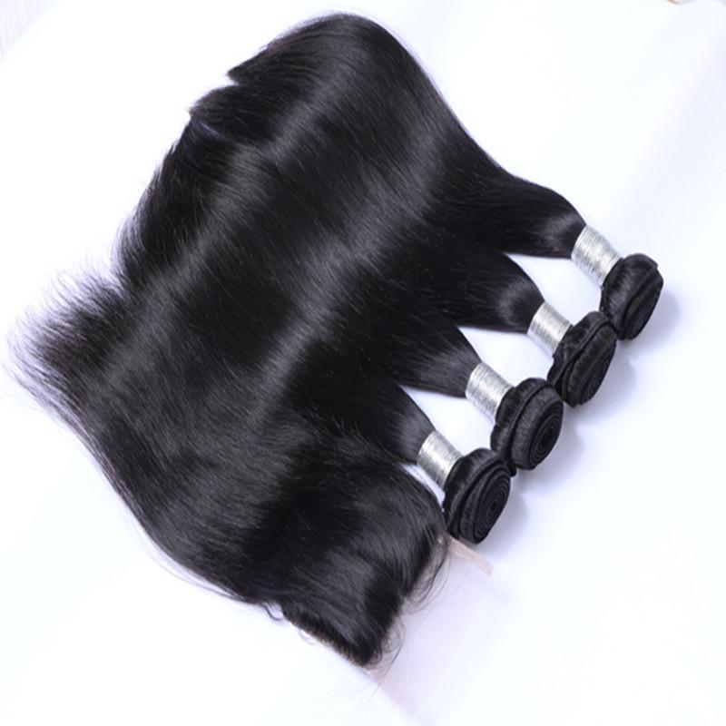 Malaysiskt mänskligt hår med stängning Obehandlat mänskligt hår med spetsavslutning 4st parti Malaysiskt rakt hår med stängning