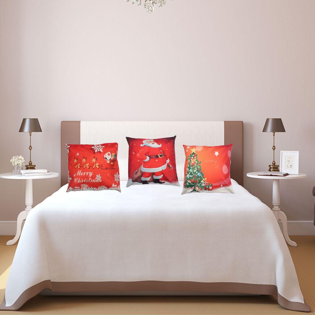 Merry Christmas Throw Pillow Cover 3 Pack Lino in cotone federa casa cuscino decorativo auto rosso 18