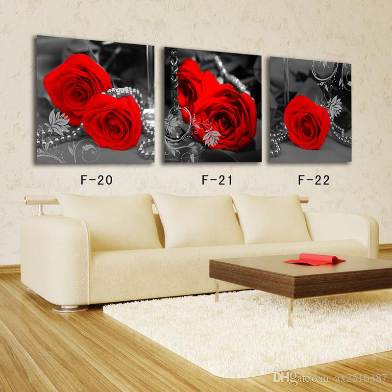 2018 Red Flowers Canvas Print Painting Modern Canvas Wall Art For ...