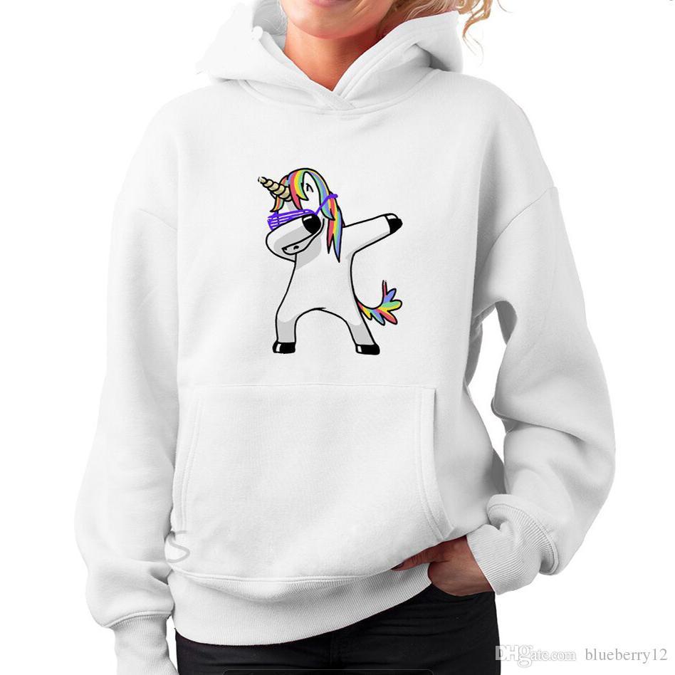 Fashion American Eur Style Autunno Pullover Unicorno stampato a maniche lunghe Pullover da donna Casual con cappuccio Top Abbigliamento