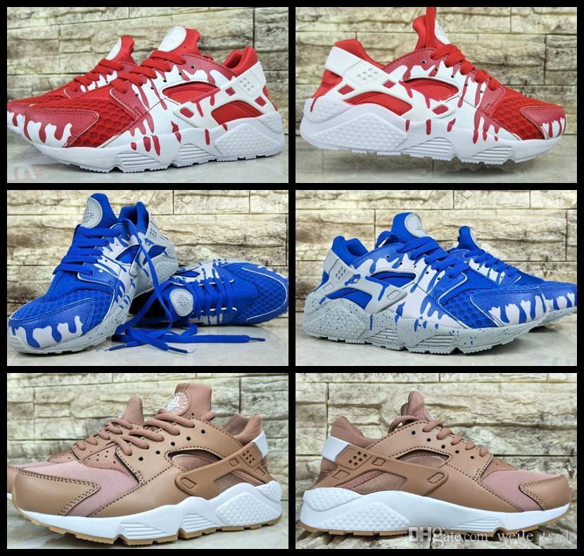 2017 Pas Cher Air Huarache 1 I Chaussures De Course Pour Hommes vampire Bleu Rouge Designer Baskets Designer Triple Huaraches 1 Baskets huraches