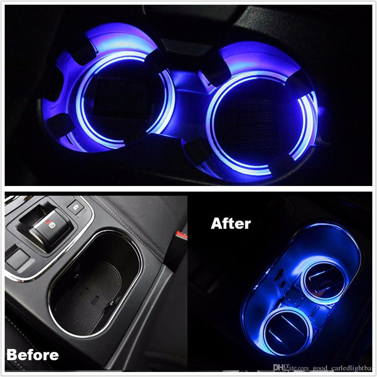 Interior Accessories Supply Universial Car Truck Interior Solar Energy Cup Pad Trim Led Light Lamp