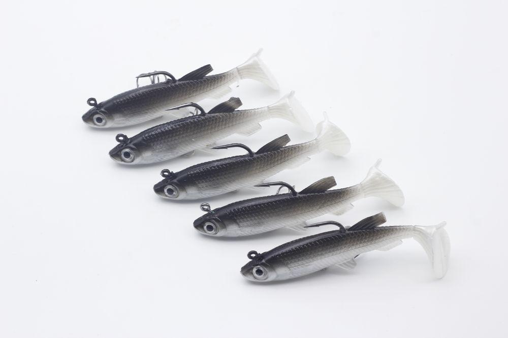 Rompin 5 unids / lote Gris Señuelo Suave 8 cm 13g Wobblers Cebo Artificial Señuelos de Pesca de Silicona Lubina Carpa Pesca Plomo Fish Jig