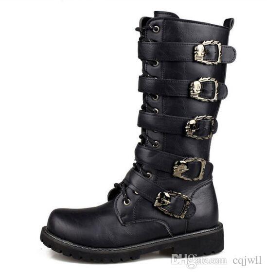 Compre Hombres De Negros Botas De Hombres Combate Retro Cinturón Barato Hebilla 9439f3