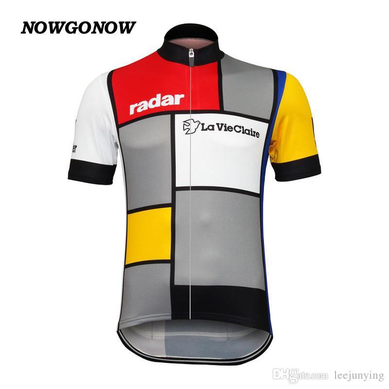 Commercio all'ingrosso personalizzato nuovo ciclismo jersey bike top classico La Vie Claire Wonder W Abbigliamento retrò abbigliamento bici mtb road maillot ropa ciclismo NOWGONOW