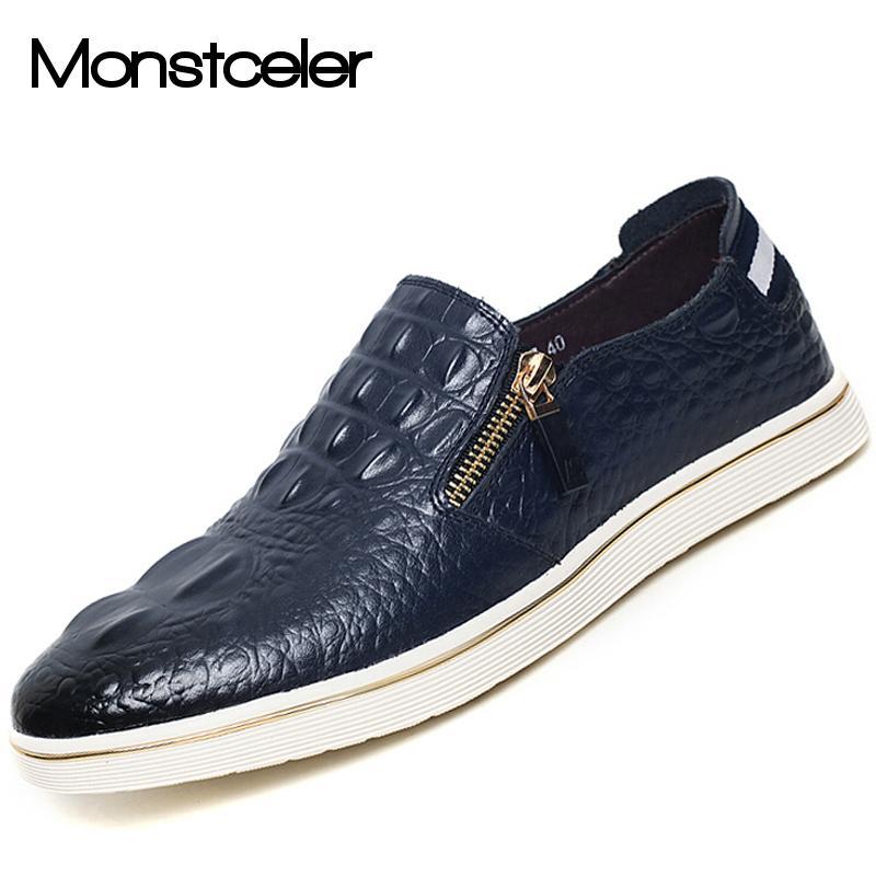 Genuine Cowhide Leather Men'S Casual Shoes Autumn Fashion Crocodile Grain Zipper Flats