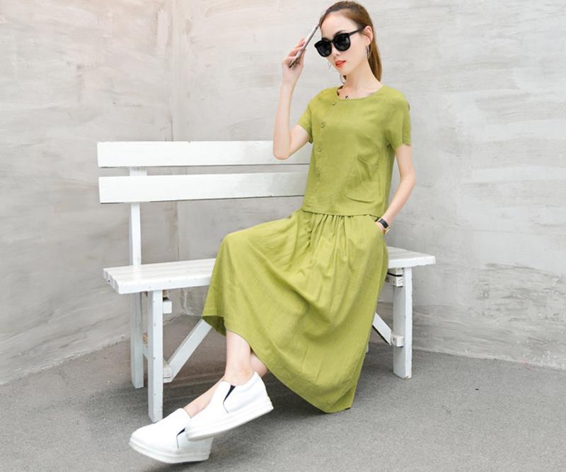 Women's Linen O-Neck Short Sleeve party Cocktail Two Pieces Dress Size M L XL XXL XXXL XY622