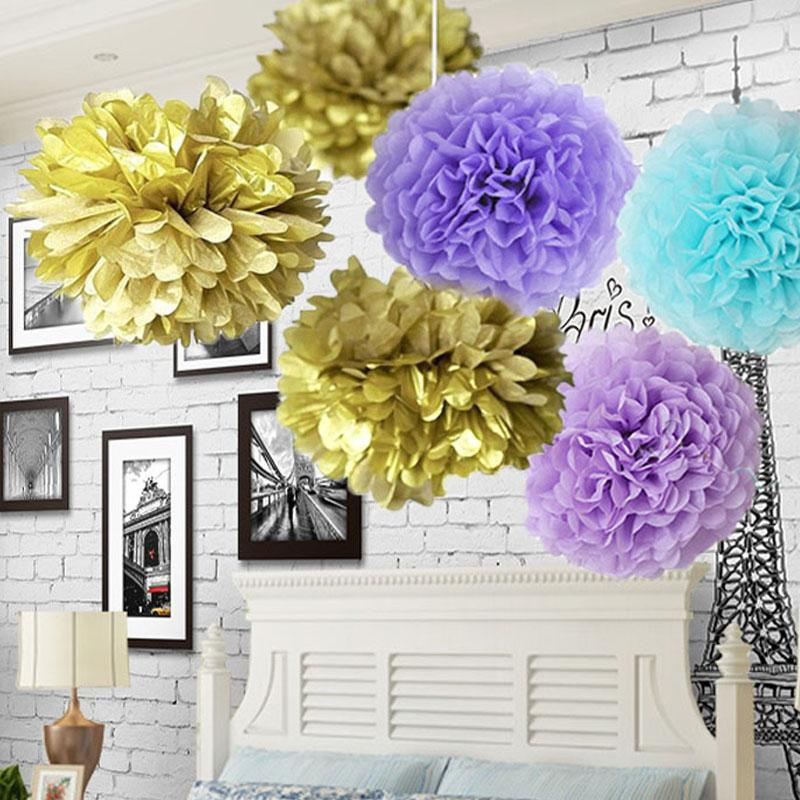 Paper flowers kissing ball wedding home garden birthday party baby paper flowers kissing ball wedding home garden birthday party baby shower diy decoration tissue paper pom poms gold silver first birthday party themes mightylinksfo