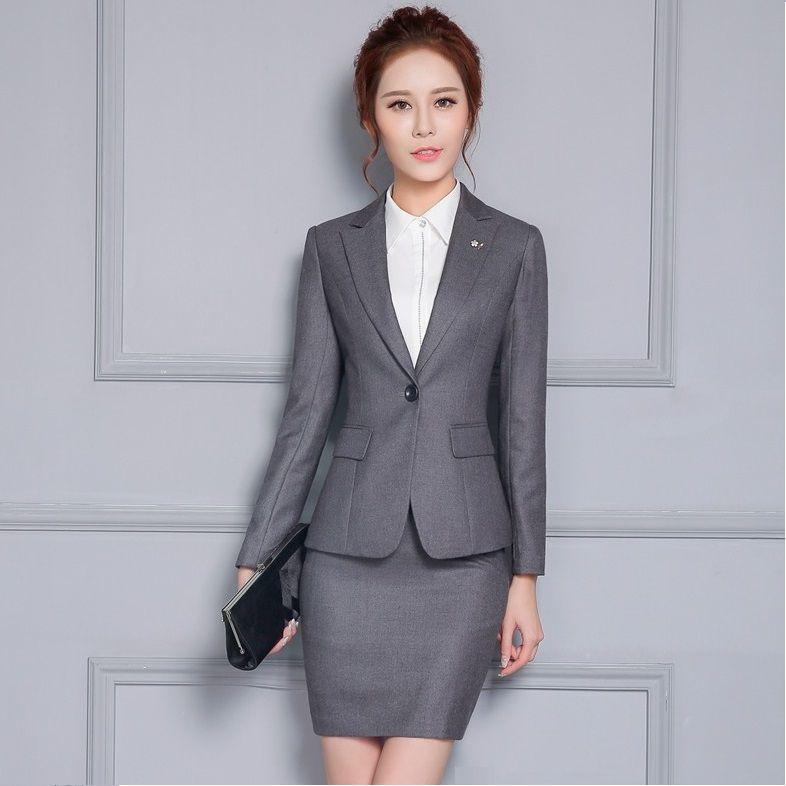 Femmes un bouton, plus la taille à manches longues costumes blazers avec jupe pour le travail noir gris foncé bleu pleine doublure 3XL Livraison gratuite Dropship DK850F