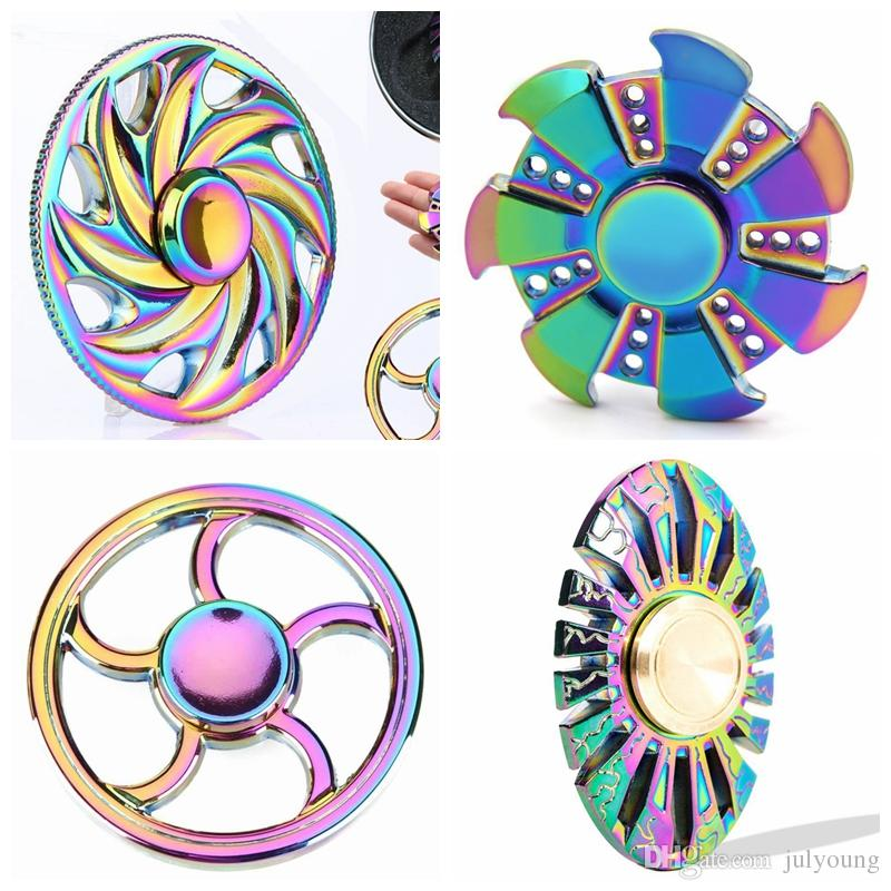 Ufo tri fidget spinner rainbow spinner fidget toy edc for Fish fidget spinner