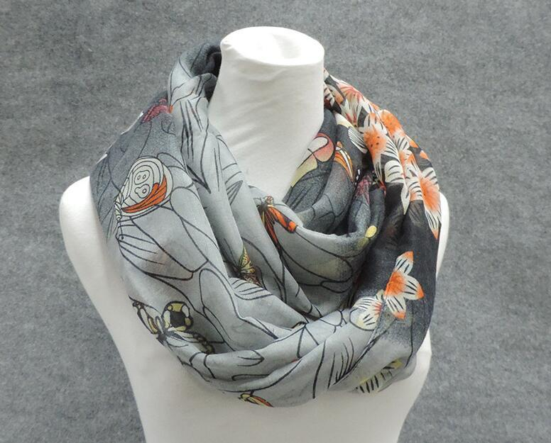 Factory Direct Sale Animal Print Voile Cotton Infinity Scarf all Kinds of Butterfly Print Circle Scarf Fashion Scaves Women around Scarfs