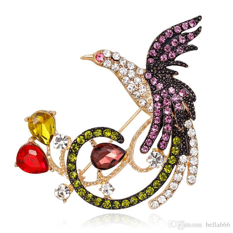Hayvan kuş Broş Çinko Alaşım Tam Rhinestone Karikatür Phoenix Broş Pin Süsler Korsaj Takı Giyim Eşarp Toka Takım Aksesuarları