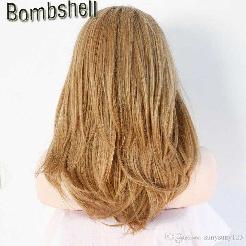 Bombshell Black Roots Ombre Blonde Medium Length Natural Straight Synthetic Lace Front Wig Heat Resistant Fiber For Black Women