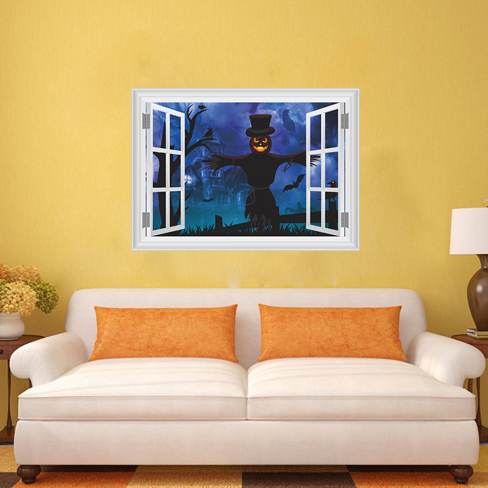New 3d Scary Ghost Castle Scarecrow Wall Sticker Halloween Wall ...