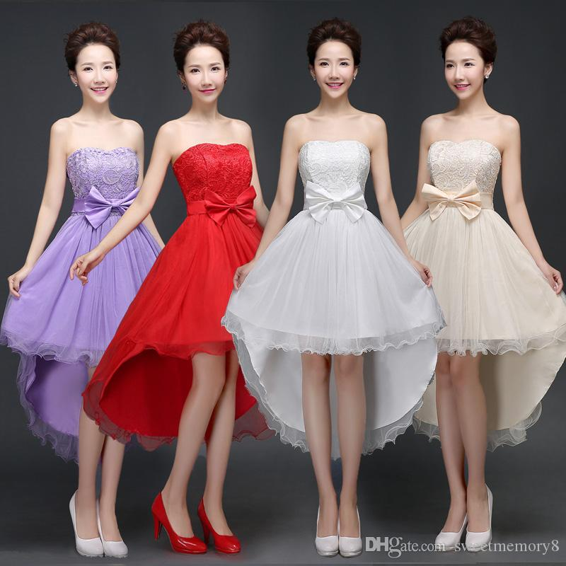 High-low design Bridesmaid Dresses red white Champagne hi-lo performance wedding party dress Sweet Memory Promotion SW0001