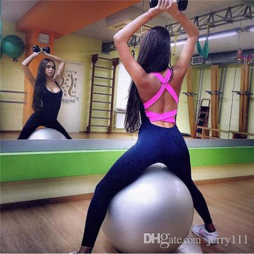 Women Yoga Sets Leggings Sexy Backless One-piece Sportswear Gym Fitness Clothing Suit for Woman Running Jumpsuits LA437