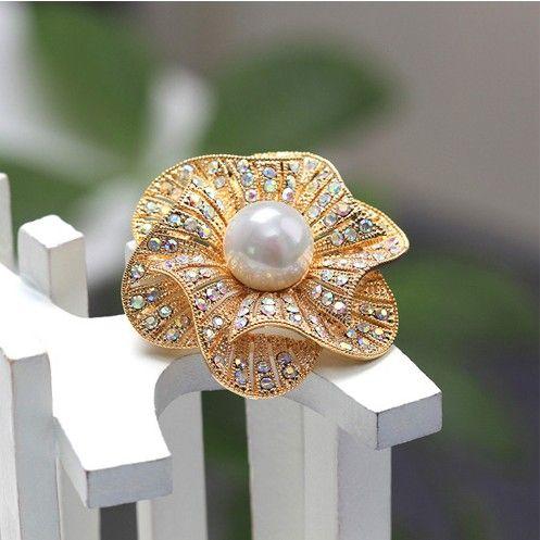 1.8 pouces strass cristal Diamante Broche Floral Broche De Noce Corsages 3 couleurs En stock Vintage Style