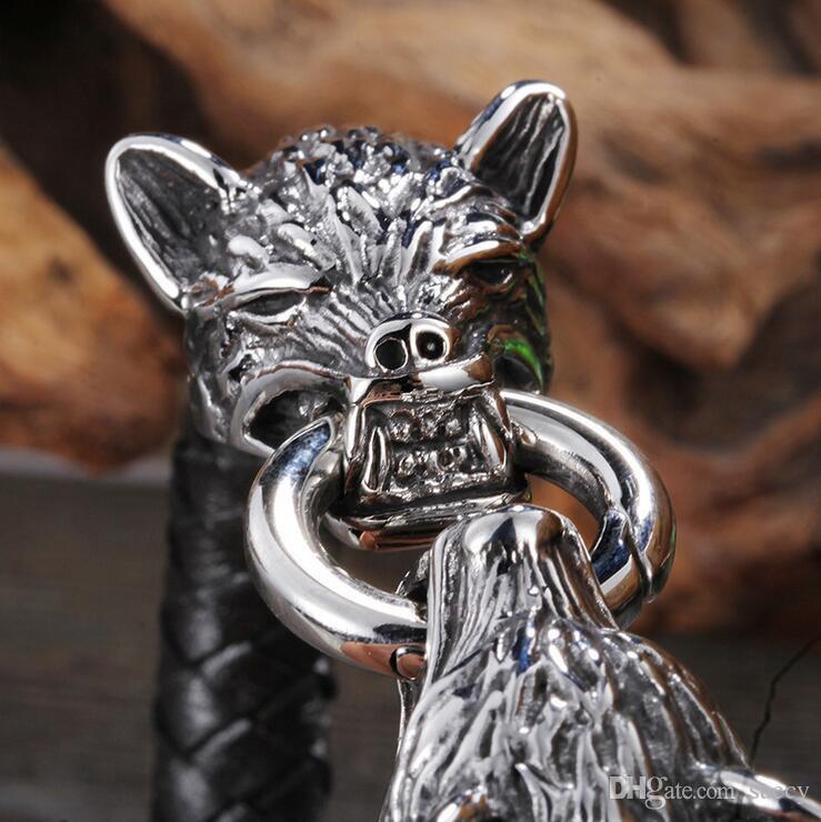 22.5cm Cool Stainless Steel Wolf Head Bracelets Bangles High Quality Black Genuine Leather Bracelet Men Pulseras Jewelry Gift