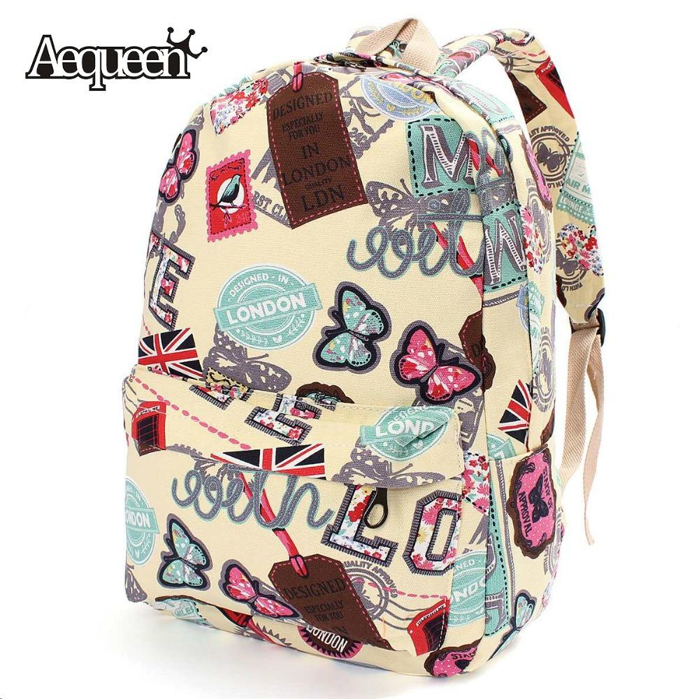 Wholesale Women Girl Canvas School Backpacks Union Flag Butterfly ...