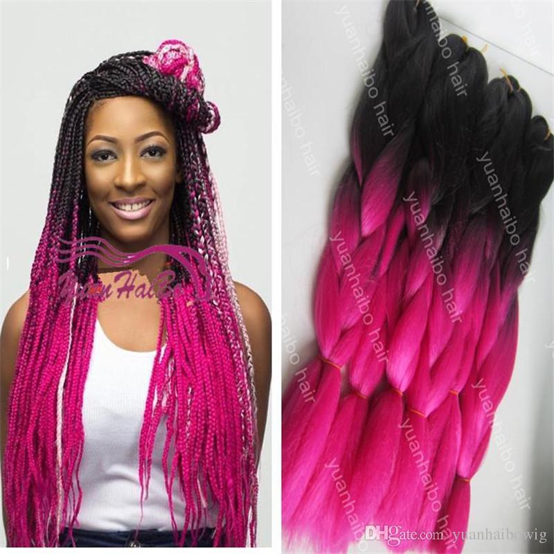 New Fashion 20inch Two Tone Jumbo Braids Black Hot Pink