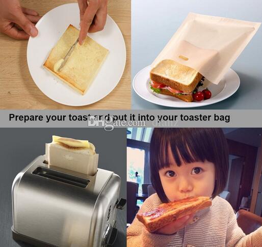 비 스틱 재사용 가능 내열 토스터 백 샌드위치 후라이 팬 히터 가방 주방 악세사리 요리 도구 가제트