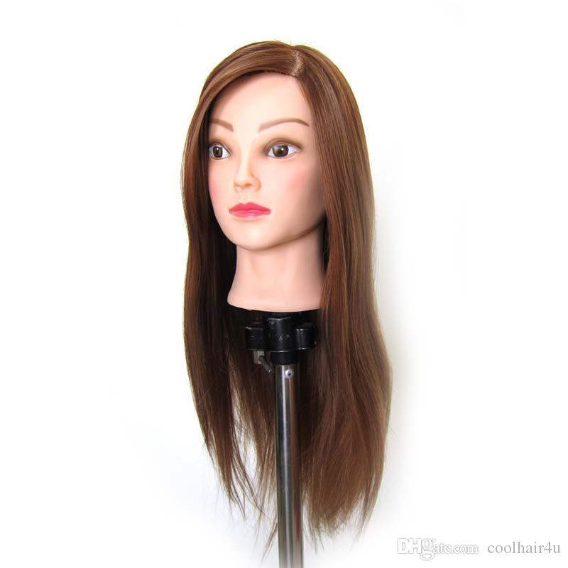 Brown Mannequin Professional Hairdressing Training Heads thick High Temperature Hair Great Quality Mannequin Head with stands