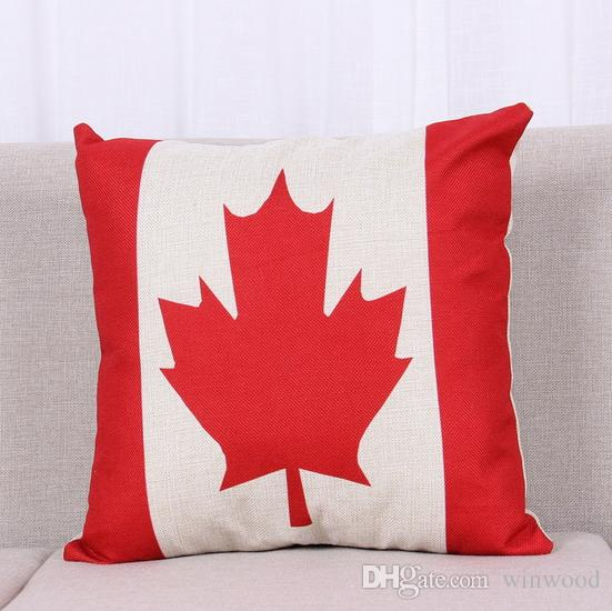 National Flags Pillow Case Pattern Cushions American British Canada French Flags Pillowcase Home Office Square Decors Beautiful Covers